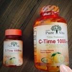 Pure Vita C-Time 1000 mg. เพียว ไวต้า ซีไทม์ วิตามินซีที่ดีที่สุด นำเข้าจากแคนาดา
