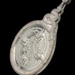 เหรียญพระพรหม๙ยอด เนื้อเงิน จารเต็มสูตร ทั้งหน้าและหลังเหรียญ หมายเลขมงคล ๑๘๘ ๑ใน ๓๙๙ เหรียญเท่านั้น