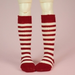 Dark Red & White Stripe Stocking