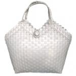 กระเป๋าสาน ขายส่ง (BB-White ชุดเกราะ ส่ง 60 บาท) กว้าง 13 cm. ยาว34 cm. สูง 32 cm.กระเป๋าสานพลาสติก ราคาถูก