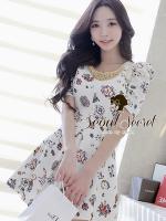 Seoul Secret Colorful Jewel Print Gold Bead Furnish Dress