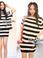 Stripe Jersey Mini Skirt Set เซ็ตเสื้อ กระโปรง ลายขวางขาวดำ