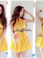 Lady Ribbon เดรสแขนกุด ผ้าชีฟอง ทรงกระโปรงพริ้วสวย สีชมพู ขาว เหลือง