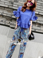 Seoul Secret Chic Sapphire Pants Set