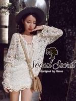 Seoul Secret เสื้อถักโครเชต์ลายดอกไม้
