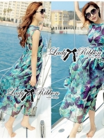 Lady Ribbon Eggplant Printed Beachwear Chiffon Maxi Dress