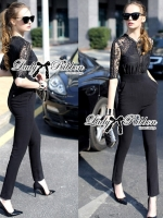 Lady Ribbon Sexy Chic Lace Jumpsuit in Black