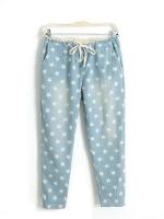 กางเกงขายาว ผ้าฝ้ายสีฟ้า พิมพ์ลายดาว เชือกผูกโบว์ที่เอว