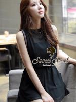 Seoul Secret จั๊มสูทผ้าชีฟองขาสั้น สีดำ แต่งเลื่อมที่แขน