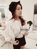 Seoul Secret Balloon Sleeve Cloud Blouse