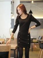 Little Black Dress by Cherry KOKO เดรส ผ้าเนื้อผสมลายตาราง แต่งกระดุมเก๋ๆ