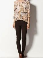 ZARA เสื้อคอกลม ผ้าพริ้ว ลายดอกไม้ กระดุมหน้า ไซส์ S,M,L