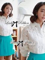 Lady Ribbon เสื้อเชิ้ตผ้าแก้วพิมพ์ลายดอกไม้