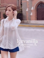 IceVanilla Pearl&Diamond Stitch Chiffon Shirt