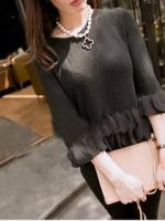 เสื้อไหมพรมสีดำ แขนยาว แต่งระบายผ้าชีฟองที่แขน และชายเสื้อ
