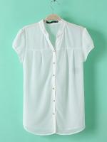 ASOS เสื้อเชิ้ตผ้าชีฟอง แขนตุ๊กตา สีขาว