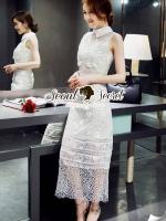 Seoul Secret Ivory Organdy Premium Long Dress
