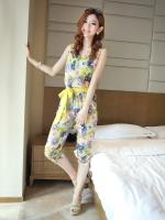 จั๊มสูทขายาว ผ้าชีฟองลายดอกไม้ มีผ้าผูกโบว์ สีเขียว / สีชมพู