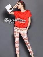 Lady Ribbon Set ชุดเซ็ทเสื้อและกางเกงพิมพ์ลายสีแดงสุดเปรี้ยว