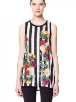 ZARA WOMAN เสื้อตัวยาว ผ้าชีฟอง พิมพ์ลายทาง ลายดอกไม้