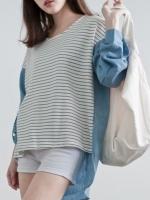 เสื้อลายขวาง ตัดต่อผ้าฝ้ายด้านหลังและแขน ด้านหน้าสั้น ด้านหลังยาว