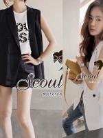Seoul Secret เสื้อคลุมทรงสูทแขนกุด ผ้าคอตตอน
