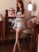 Lady Ribbon Givenchy Print Mini Dress มินิเดรสผ้าซิลค์พิมพ์ลาย