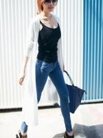 CELEBSTYLE เสื้อคลุมแบบยาว ช่วงกระโปรงตัดต่อผ้าตาข่าย สีขาว