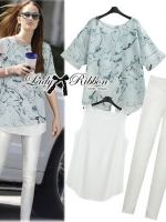 Lady Ribbon Marble Chiffon Top and White Leggings Set