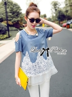 Lady Ribbon Crystal Embellished Insert Lace Denim Set