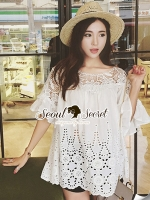 Seoul Secret Bell Sleeve Ivory Lace Net Tops on Long Blouse