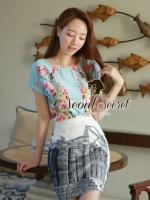 Seoul Secret ชุดเซ็ทเสื้อลายดอก กระโปรงโทนสีขาวดำ