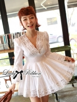Lady Ribbon Lady Grace Insert Crochet Kaftan Dress in White