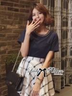 Lady Ribbon T-Shirt and Checked Skirt Set