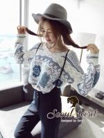 Seoul Secret เสื้อเนื้อผ้าไหมพรมเกาหลี ทอลายดอกไม้
