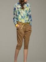ZARA เสื้อคอจีน ผ้าพิมพ์ลายดอก โทนสีน้ำเงินฟ้า