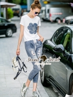 Seoul Secret Camellia Stylish Denim Set