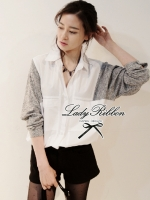 Lady Ribbon Minimal Chic Two Tone Shirt