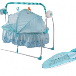 เปลไกวไฟฟ้าอัตโนมัติ Primi แบบเปลไกวข้าง สีฟ้า - ชมพู + เบาะรองนอนพิเศษ