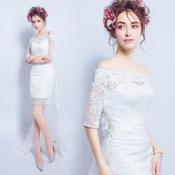 (เช่าชุดราตรี) ชุดแต่งงาน <ไหล่ปาด แขนยาว สีขาว> รหัสสินค้า LS_WDS0148