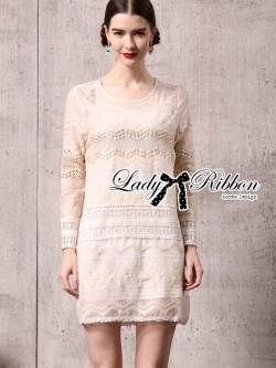 Lady Ribbon Long-Sleeve Dress in Off White