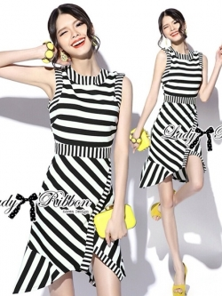 Lady Ribbon Lady Charlies Mix Striped Monochrome Dress