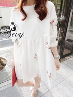Sevy Baby Doll Embroidered Flower Mini Dress