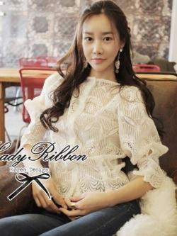 Lady Ribbon เสื้อแขนยาวผ้าออร์แกนซ่าเนื้อโปร่งปักลาย