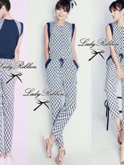 Lady Ribbon Blue Print Pleat Back Jumpsuit