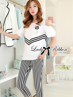 Lady Ribbon Coco Chanel Striped Set