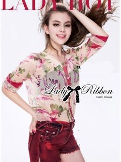 Lady Ribbon Floral Silk-Chiffon Crop Top