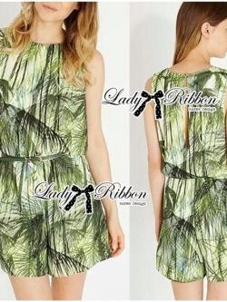 Lady Ribbon Green Leaf Jumpsuit จั๊มสูทขาสั้น พร้อมเข็มขัด