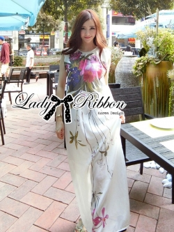 Lady Ribbon Mix Orchid Printed Chiffon Maxi Dress