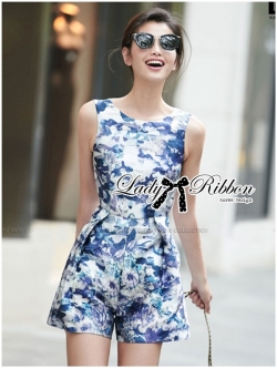 Lady Ribbon Floral Painting Printed Playsuit